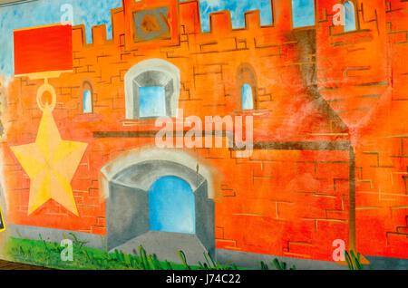 Wall graffiti depicting the elements of the Brest Fortress. - Stock Photo