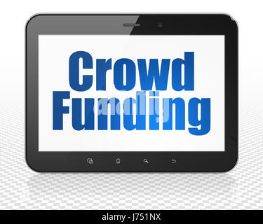 Business concept: Tablet Pc Computer with Crowd Funding on display - Stock Photo