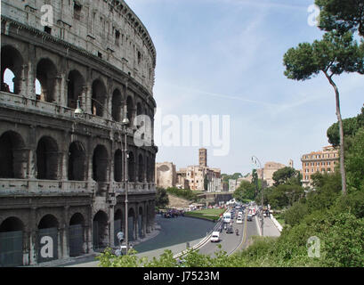 europe Rome roma ancient road street colosseum italy blue travel big large - Stock Photo
