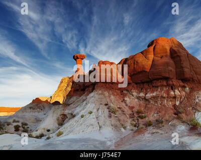 Toadstool Hoodoo amazing mushroom shaped rock in Utah desert, USA - Stock Photo