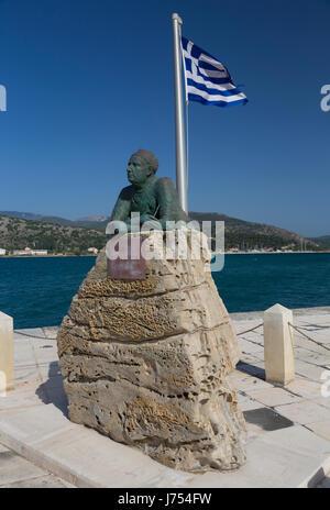 Statue of Greek poet and writer Nikos Kavadias (1910-1975), Argostoli, Kefalonia, Greece. - Stock Photo