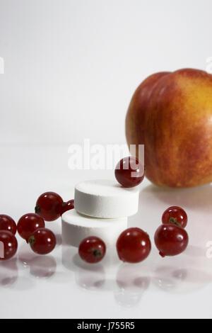 vitamine fruit peach currant nutrition healthy vitamins vitamines - Stock Photo