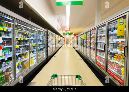 Row of Refrigerated cabinets at Woolworths, Kiama, New South Wales, NSW, Australia - Stock Photo