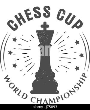 Vector logo chess king, Queen. Sport championship. Badge isolated on white background - Stock Photo