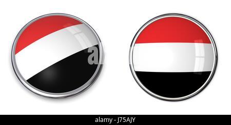 round about flag button banner yemen pin sticker stickers travel tourism round - Stock Photo