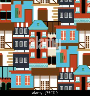 Vector old house seamless pattern. Modern cottege panorama. city Germany background for your design. Can be used - Stock Photo