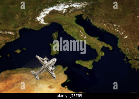 Vintage Italy Map With airplane. Conceptual image  (Elements of this image furnished by NASA) - Stock Photo