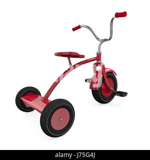 tricycle childhood bike bicycle cycle red object big large enormous extreme - Stock Photo