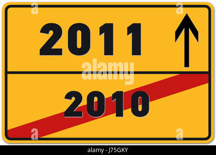 sign signal future new year#25; s day silvester new year place-name sign yellow - Stock Photo