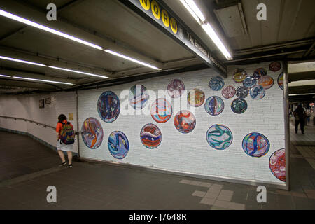 Subway art at the 42nd Street and 8th Avenue subway station in Midtown Manhattan, New York City. - Stock Photo