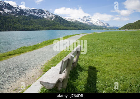 hill mountains alps europe switzerland grisons rock spring woods pavement - Stock Photo