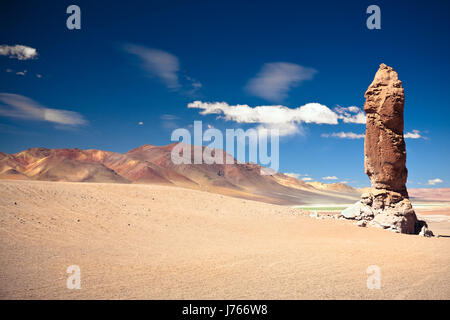 desert wasteland rock chile monolith landscape scenery countryside nature andes - Stock Photo