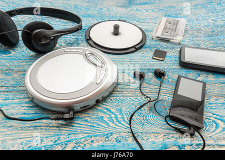The photo shows a Cd player on a blue background - Stock Photo
