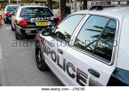 Miami Beach Florida police car law enforcement vehicle - Stock Photo