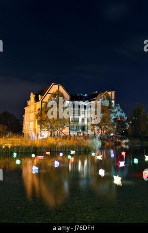 night nighttime long-term exposure evening berlin square sailing boat sailboat - Stock Photo