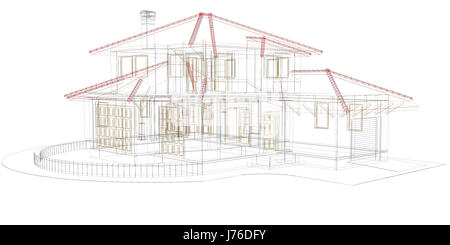 Cottage perspective the drawing of the building 3d outlines eps 8 stock vector art for Concept home architecture and engineering