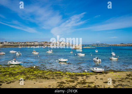 France, Brittany, Finistére department, Roscoff, Vieux Port, the old harbour of Roscoff - Stock Photo
