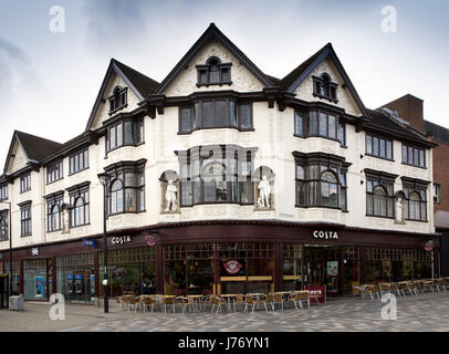 UK, England, Derbyshire, Derby, St Peter's Street, Costa Coffee in Edwardian former Boots Chemist building - Stock Photo