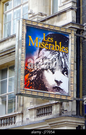 Les Miserables Sign, Queen's Theatre, Shaftesbury Avenue, London, England, UK - Stock Photo
