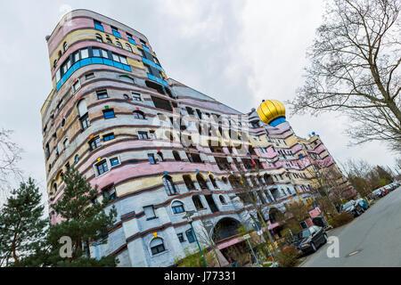 Waldspirale or forest spiral, apartment building designed by Friedensreich Hundertwasser, Darmstadt, Germany - Stock Photo