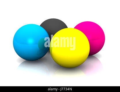 balls gamut color space printing inks bowls blue shine shines bright lucent - Stock Photo