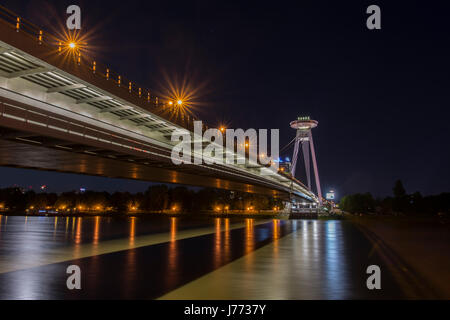 The UFO tower on the Danube bridge in Bratislava - Stock Photo