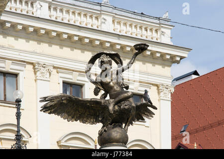 The statue in front the Historical building of the Slovak National Theatre in Bratislava - Stock Photo