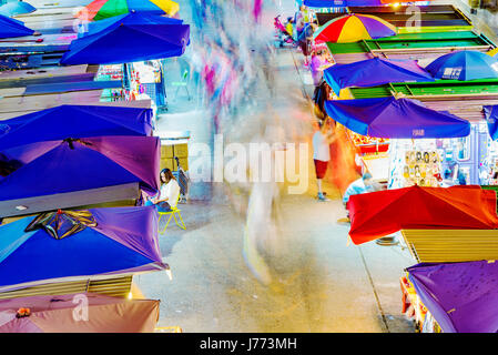 HONG KONG, CHINA - APRIL 24: This is an aerial view of Fa Yuen street market a popular local market in in the Mong - Stock Photo
