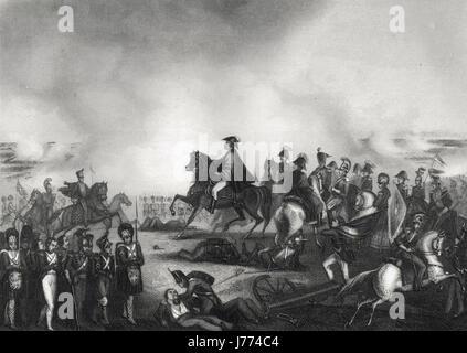 Duke of Wellington & his staff at  The Battle of Waterloo 1815 - Stock Photo