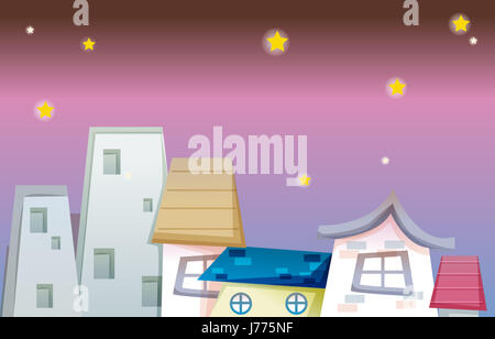 house building night nighttime stars asterisks private blue house building - Stock Photo