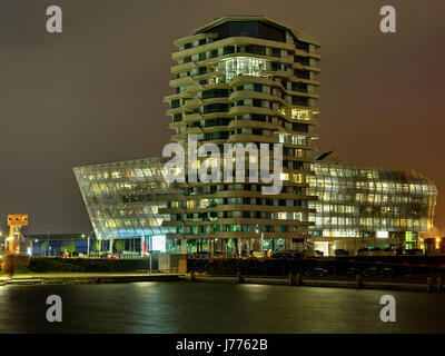 lights hamburg in the evening polo lights hamburg in the evening polo hafencity - Stock Photo