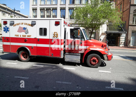 district of columbia fire and ems unit medic on call Washington DC USA - Stock Photo