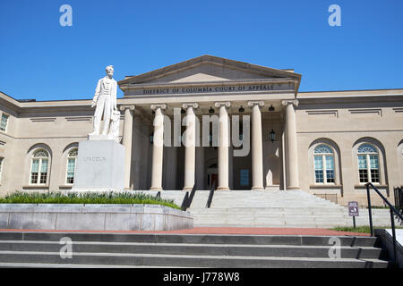 District of Columbia City Hall now the court of appeals and abraham lincoln statue judiciary square Washington DC - Stock Photo