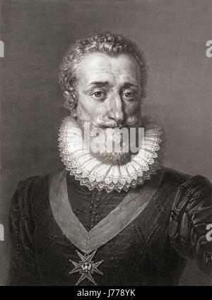 Henry IV, 1553 - 1610, aka Henry of Navarre or Bourbon.  King of Navarre as Henry III, 1572 - 89.  First Bourbon - Stock Photo