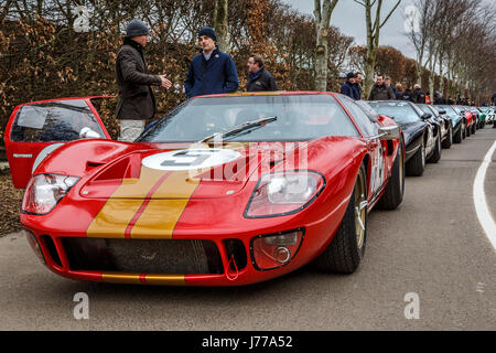 1966 Ford GT40 of Kenny Brack and Christian Glasel in the paddock at Goodwood GRRC 74th Members Meeting, Sussex, - Stock Photo