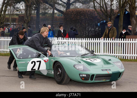 1965 Ford GT40 of Andrew Gans and Michael Wolfe in the paddock at Goodwood GRRC 74th Members Meeting, Sussex, UK. - Stock Photo