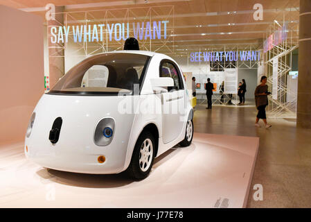London, UK.  23 May 2017. A Waymo 'Firefly' self-driving vehicle (formerly the Google self-driving car project). - Stock Photo