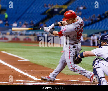 May 23, 2017 - Los Angeles Angels right fielder Kole Calhoun (56) swings and hits a ground ball to the shortstop - Stock Photo