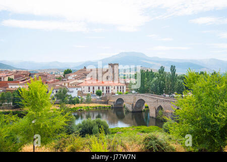 Overview, medieval bridge and river Tormes. El Barco de Avila, Avila province, Castilla Leon, Spain. - Stock Photo
