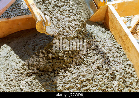 Concreting sidewalk around the house approach to building - Stock Photo
