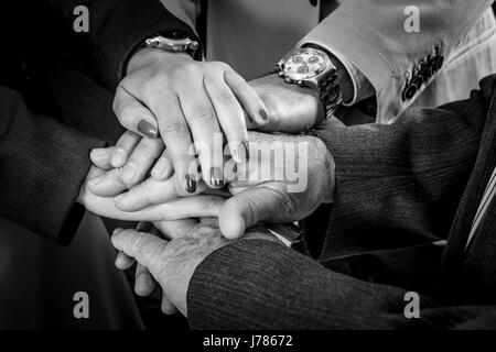 Teamwork Join Hands Support Together Concept. Business People Joining Hands. - Stock Photo
