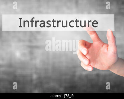 Infrastructure - Hand pressing a button on blurred background concept . Business, technology, internet concept. - Stock Photo