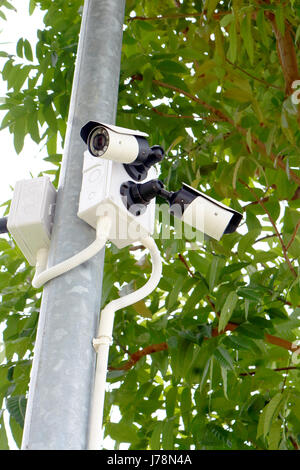 closed circuit television cctv camera in outdoor - Stock Photo