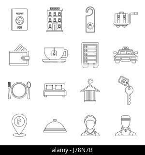 Hotel icons set in outline style. Hotel accommodation services set collection vector illustration - Stock Photo