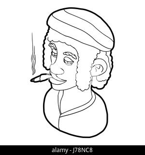 Rastafarian man wearing headband and smoking icon in outline style on a white background vector illustration - Stock Photo