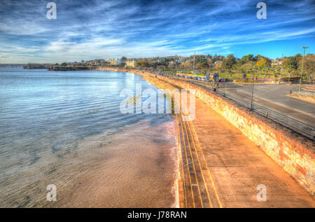 Torquay Devon promenade on the English Riviera tourist destination in Torbay in colourful HDR - Stock Photo