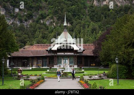 The Casino Kursaal at Interlaken in Switzerland. The hotel has been providing hospitality since 1491. - Stock Photo