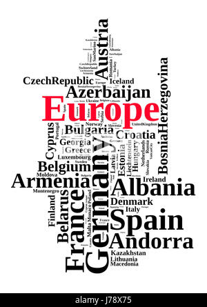 Countries in europe word cloud concept - Stock Photo