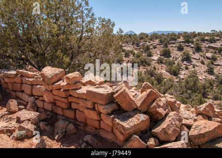 Ruins along BLM Ruin Point Road 4720, Canyons of the Ancients National Monument northwest of Cortez, Colorado. - Stock Photo