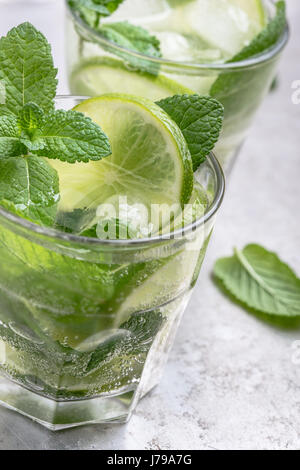 Mojito cocktail on light gray background close up, refreshing summer drink - Stock Photo